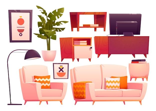 漫画のリビングルームの家具コレクション