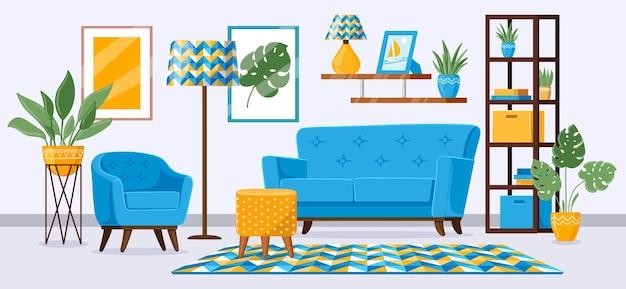 만화 거실 인테리어. 현대적인 가구, 소파, 안락 의자, 책장 및 식물 일러스트와 함께 아파트 거실