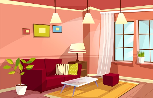 Cartoon living room interior background template. cozy house apartment concept.