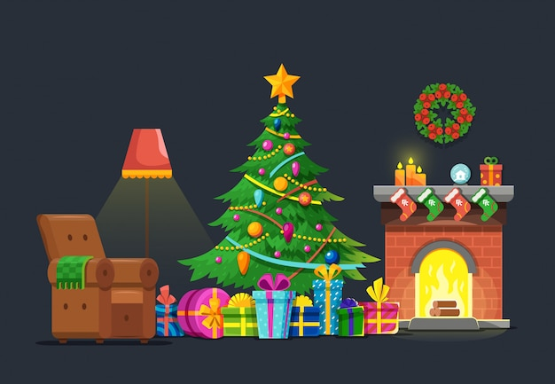 Cartoon living room with xmas tree and fireplace. christmas holiday vector flat concept