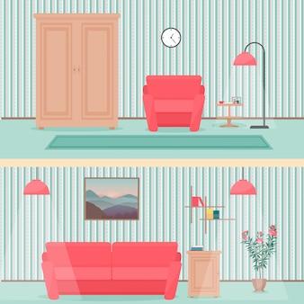 Мультяшный интерьер гостиной