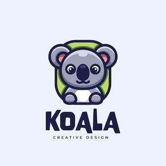 Cartoon logo cute koala funny design