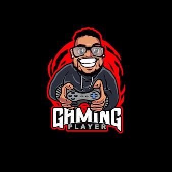 Cartoon logo gaming beard man holding the joystick a happy man playing game illustration