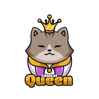귀여운 고양이 여왕 만화 로고