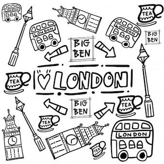 Cartoon london bus sights