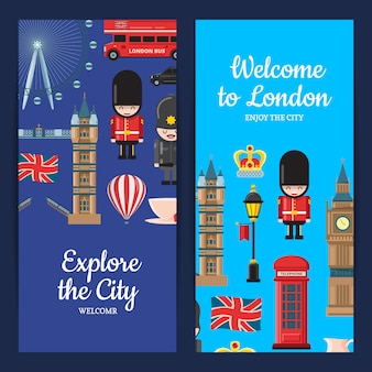 Cartoon london sights banner set