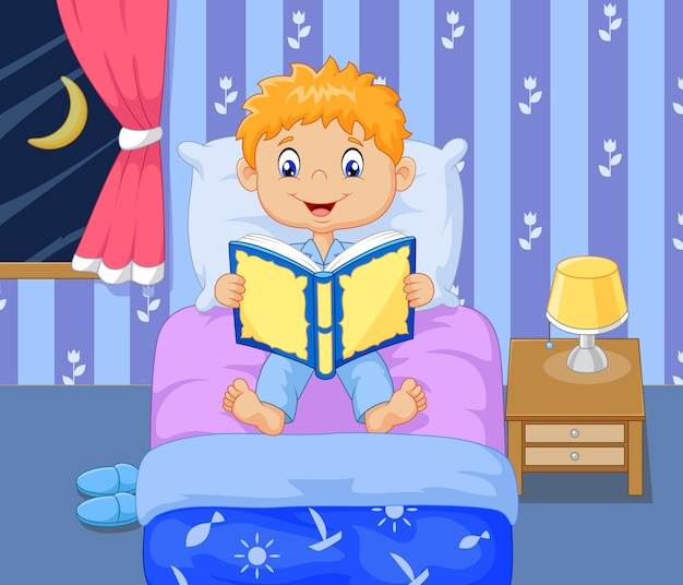Cartoon lttle boy reading bed time story