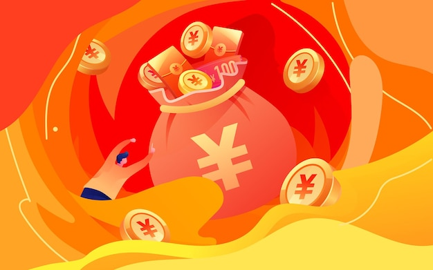 Cartoon lucky bag promotion lottery internet financial income wealth management illustration