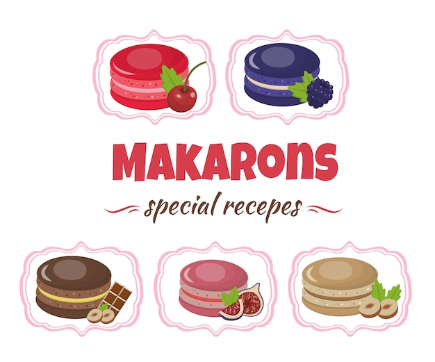 Cartoon macaroons menu and assortment flat banner