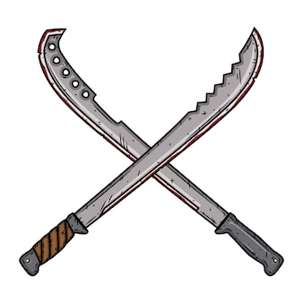 Cartoon machete. two isolated crossed machetes.  illustration.