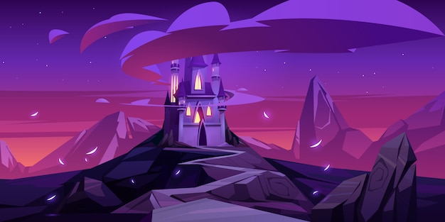 Cartoon magic castle in mountains at night