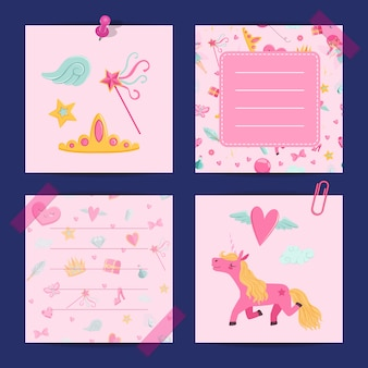 Cartoon magic and fairytale notes template set