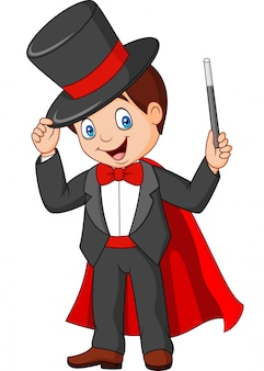 Cartoon magician holding magic wand