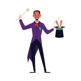 Cartoon magician with magic trick wand holding top hat with rabbit ears coming out. isolated  of man in magical costume doing circus performance.