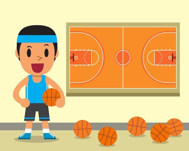 漫画の男性のバスケットボール選手と裁判所のイラスト