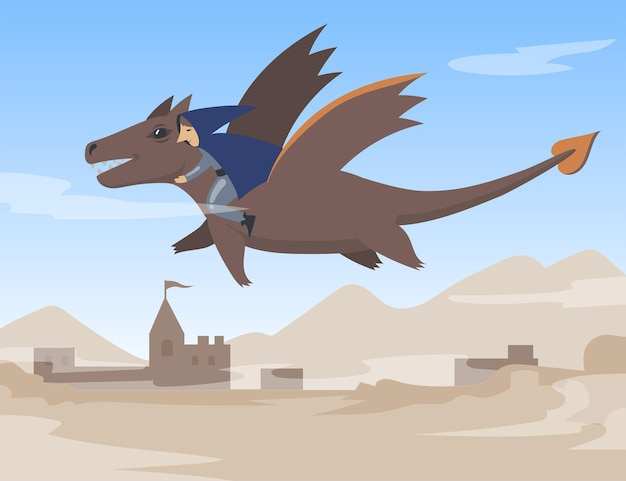 Cartoon male character in cape flying on dragon. flat illustration.