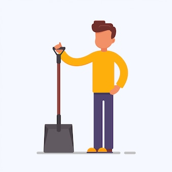 Cartoon male character holding a shovel
