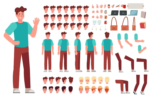 Cartoon male character kit. man animation body parts, guy in casual clothes. boy constructor with hand gestures and various heads vector set. character person body, emotion and haircut illustration
