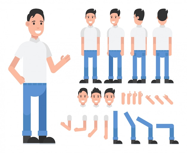 Cartoon male character for motion