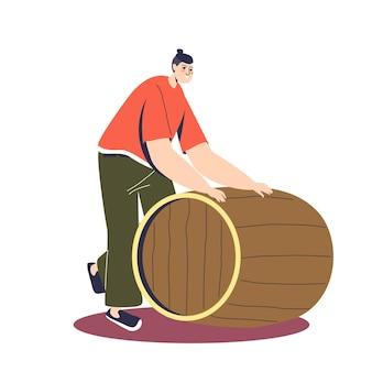 Мультяшный мужской персонаж катит деревянную бочку со свежесваренным пивом