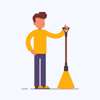 Cartoon male character with a broom