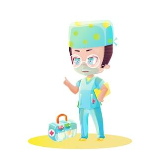백신 상자가 있는 만화 남성 의사 캐릭터. 만화와 애니메이션의 스타일로 그리기. 밝은 색상의 유치한 만화 스타일
