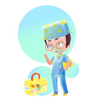 노란색 파일이 있는 만화 남성 의사 캐릭터