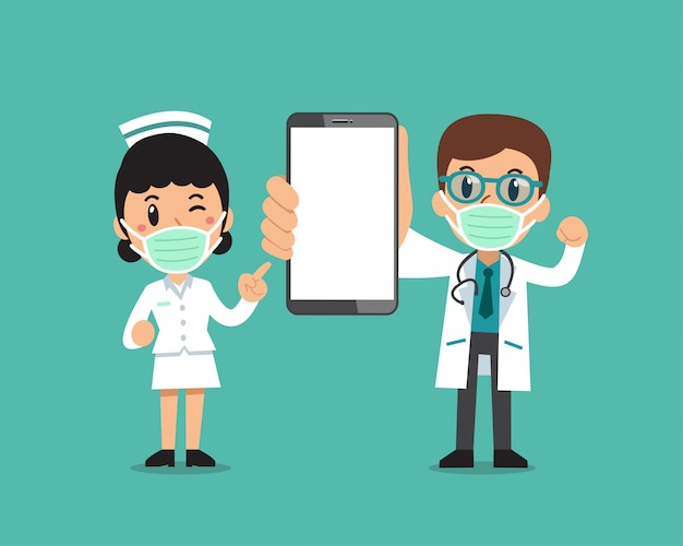 Cartoon male doctor and female nurse wearing protective masks with smartphone