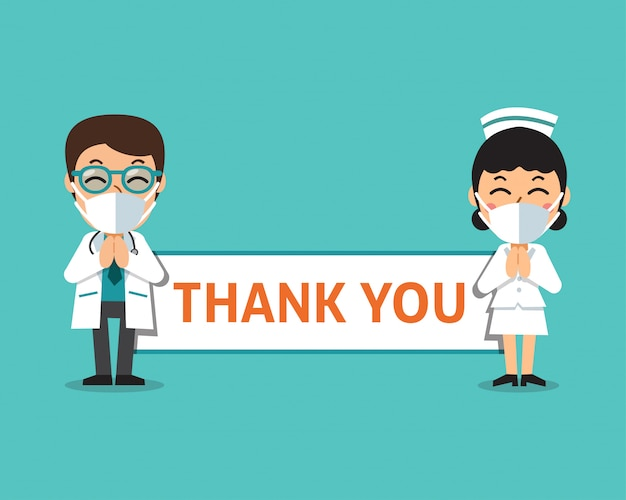 Cartoon male doctor and female nurse wearing protective masks with thank you sign