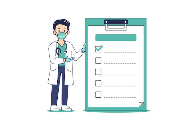 Cartoon male doctor wearing protective mask with checklist on clipboard for design.