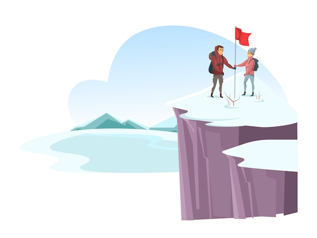 Cartoon male and female alpinist mountaineer on snowy cliff top, man and woman together going up mountain peak and putting red flag.