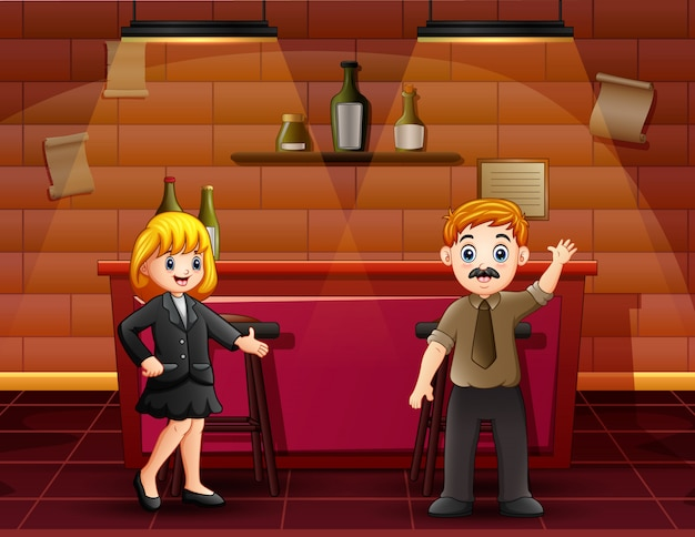 Cartoon a male and female bartenders on the bar counter