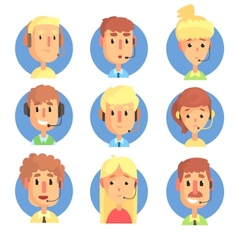 Cartoon male and female call centre operators with headset set, customer support service colorful  illustrations