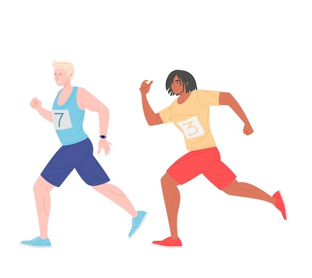 マラソンレースでスタイリッシュなスポーツウェアの漫画の男性ランナー