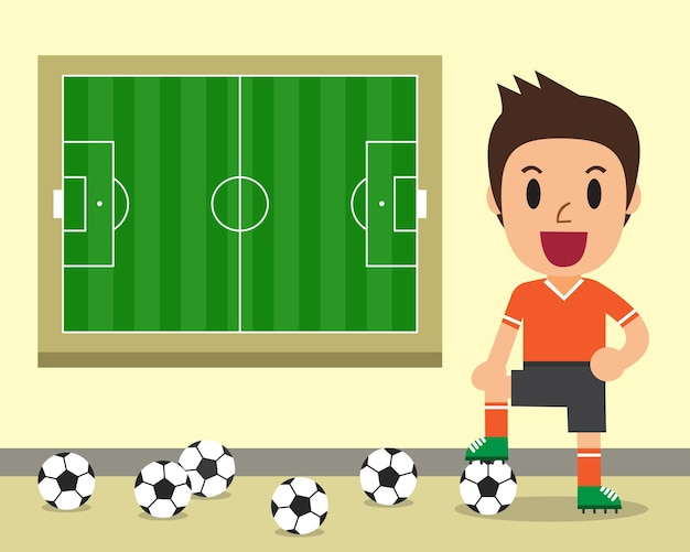 Cartoon male soccer player and soccer field illustration