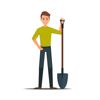 Cartoon male vector character with a shovel