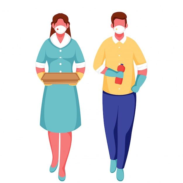 Мультяшный мужчина и женщина носят защитную маску, держа посылку с бутылкой на белом фоне для предотвращения коронавируса.