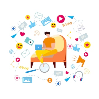 Cartoon man in armchair type in notebook browse