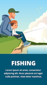Cartoon man and boy father son fishing banner