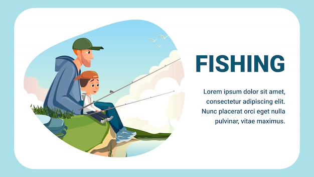 Cartoon man boy sit river bank hold fishing rod