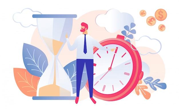 Cartoon man businessman watch hourglass running