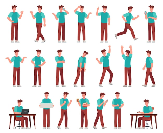 Cartoon man in casual outfit. young male character in different poses. student with various gestures, face expression vector set. guy working with laptop, writing at desk, talking on phone, routine