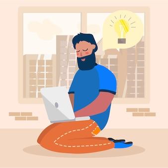 Cartoon man character having idea works on laptop