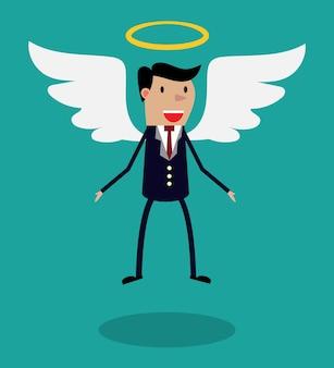 翼を持つビジネススーツの漫画の男のキャラクター