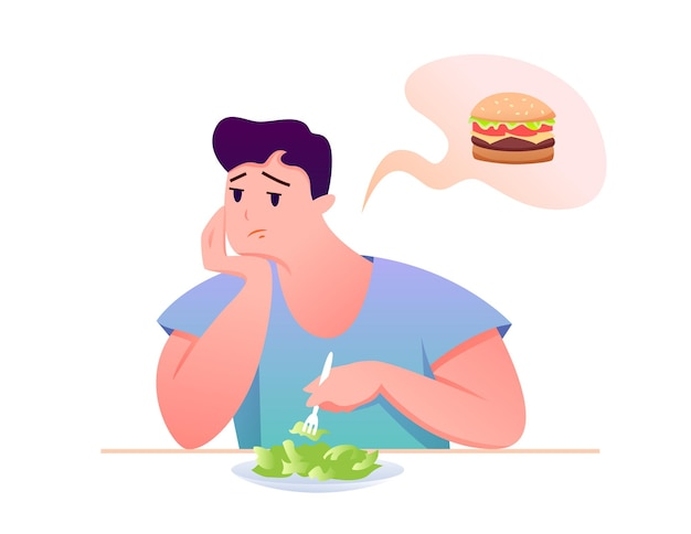 Cartoon man character sitting at table, eating diet healthy food, dreaming of unhealthy burger