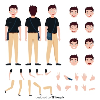 Cartoon man character template