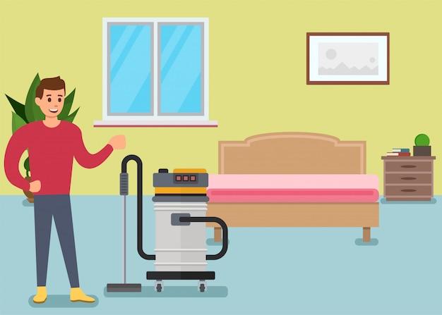 침실에서 바닥을 진공 청소기로 청소하는 만화 남자 캐릭터