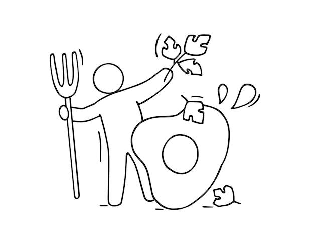 漫画の男は新鮮な緑でオムレツを調理します。