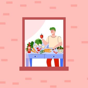 요리사의 창틀 야외 보기에서 집에서 요리하는 만화 남자