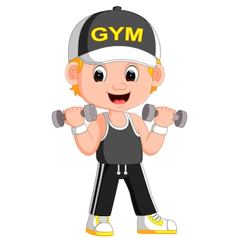 Cartoon a man exercising with dumbbells